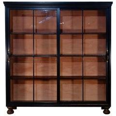 19th Century Ebonized Glazed Sliding Door Apothecary Cabinet, Kitchen Painted