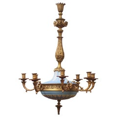 19th Century English Bronze and Wedgwood Porcelain Chandelier