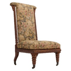 19th Century English Spool Chair, Mahogany with Fabric Upholstery
