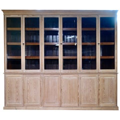 19th Century Exceptionally Large Glazed Bleached Bookcase Bibliothèque