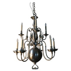 19th Century Flemish Chandelier with a Pewter Finish