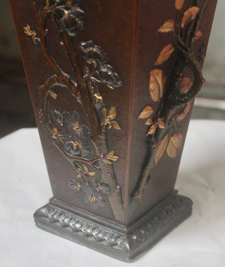 19th Century French Art Nouveau Japonisme Bronze Vase by Léopold Oudry For Sale 6
