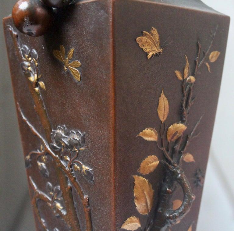 19th Century French Art Nouveau Japonisme Bronze Vase by Léopold Oudry For Sale 7