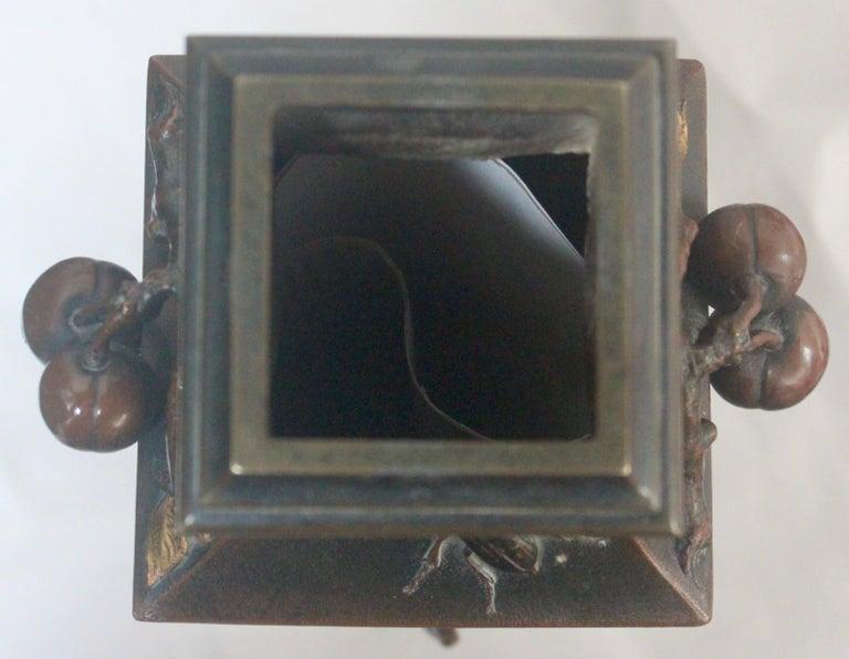 19th Century French Art Nouveau Japonisme Bronze Vase by Léopold Oudry For Sale 10