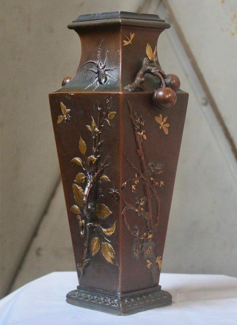 Gilt 19th Century French Art Nouveau Japonisme Bronze Vase by Léopold Oudry For Sale
