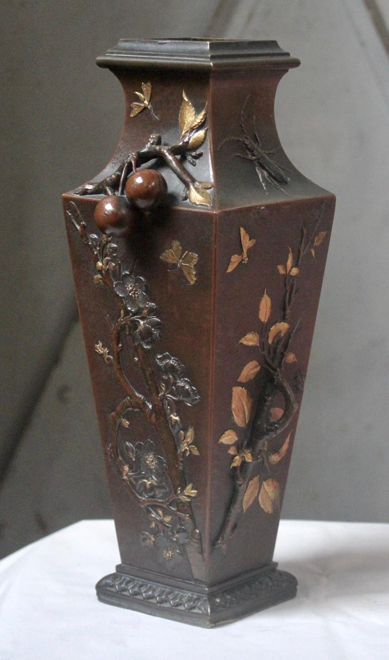 19th Century French Art Nouveau Japonisme Bronze Vase by Léopold Oudry In Good Condition For Sale In Saint-Ouen, FR