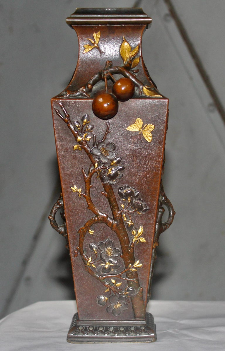 Late 19th Century 19th Century French Art Nouveau Japonisme Bronze Vase by Léopold Oudry For Sale