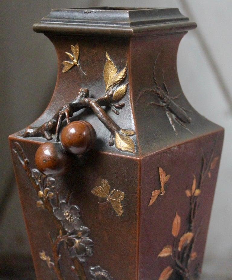 19th Century French Art Nouveau Japonisme Bronze Vase by Léopold Oudry For Sale 1