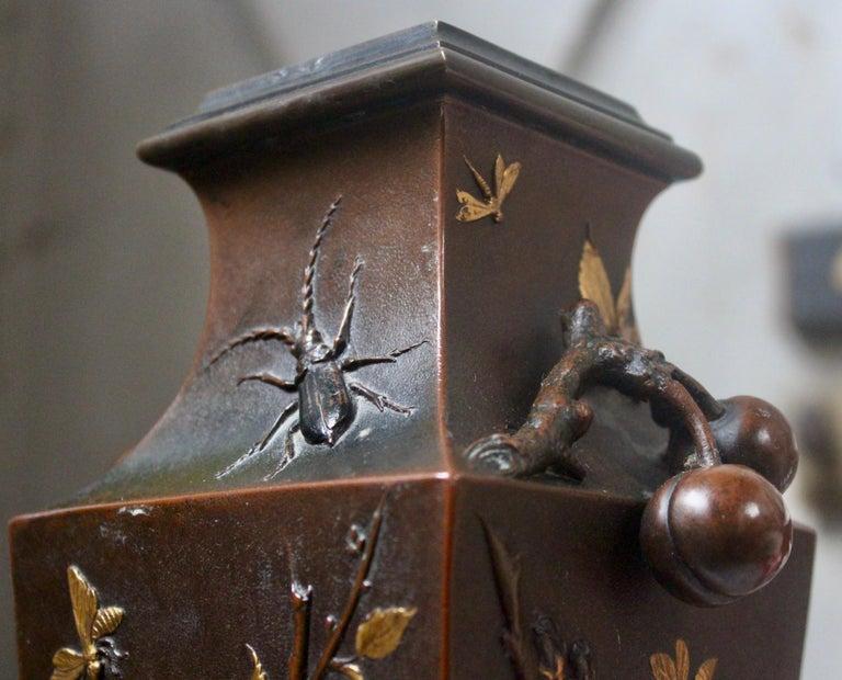 19th Century French Art Nouveau Japonisme Bronze Vase by Léopold Oudry For Sale 2