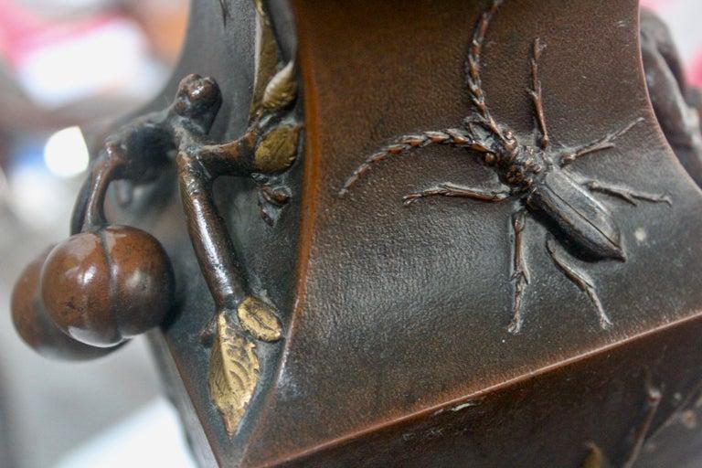 19th Century French Art Nouveau Japonisme Bronze Vase by Léopold Oudry For Sale 3