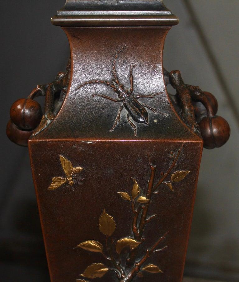 19th Century French Art Nouveau Japonisme Bronze Vase by Léopold Oudry For Sale 4