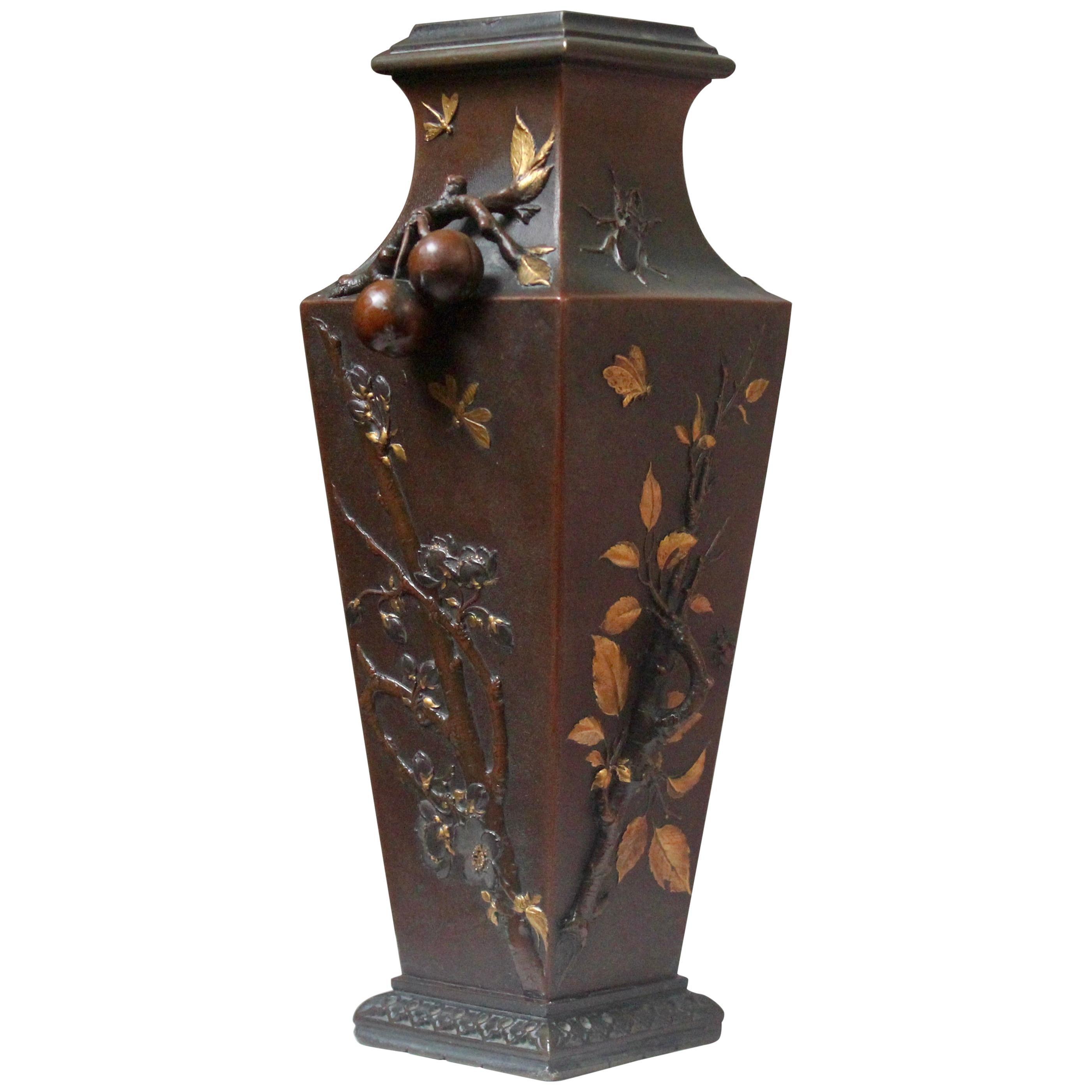 19th Century French Art Nouveau Japonisme Bronze Vase by Léopold Oudry