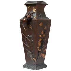 19th Century French Art Nouveau Japonisme Bronze Vase by Léopold Oudry