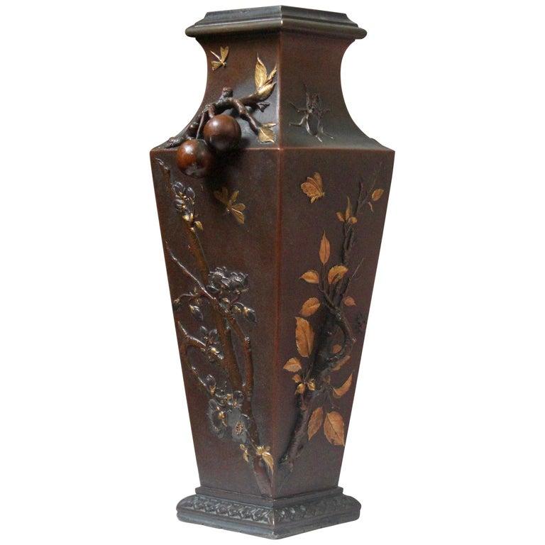 19th Century French Art Nouveau Japonisme Bronze Vase by Léopold Oudry For Sale