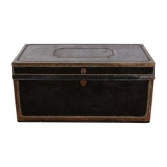 19th Century French Black Leather Trunk with Brass Edge Trim and Brass Studs