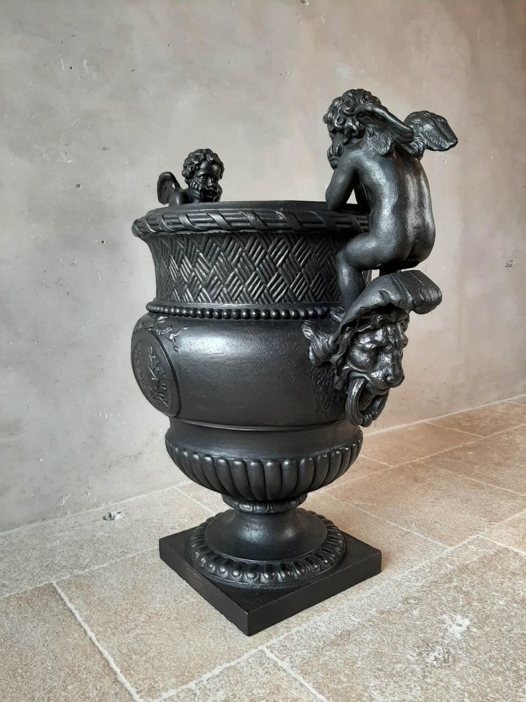 19th Century French Cast Iron Urn, Cast by A. Durenne, After Claude Ballin I For Sale 7