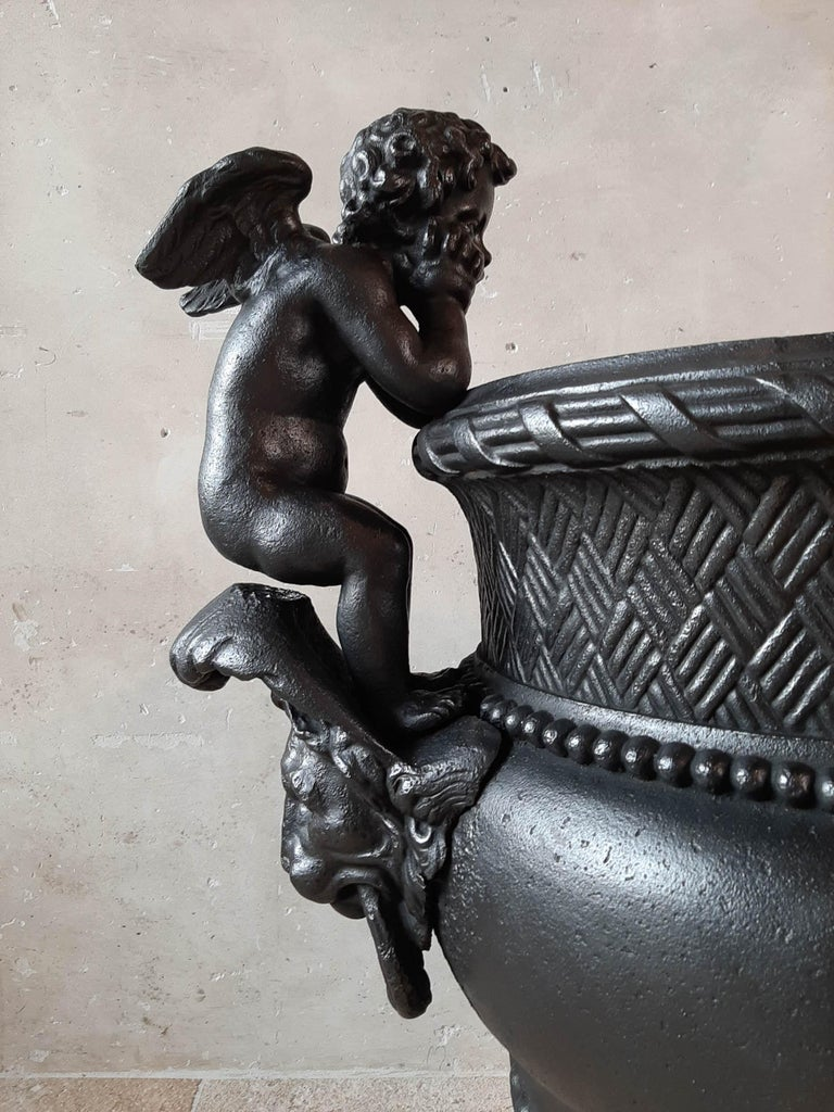19th Century French Cast Iron Urn, Cast by A. Durenne, After Claude Ballin I For Sale 1