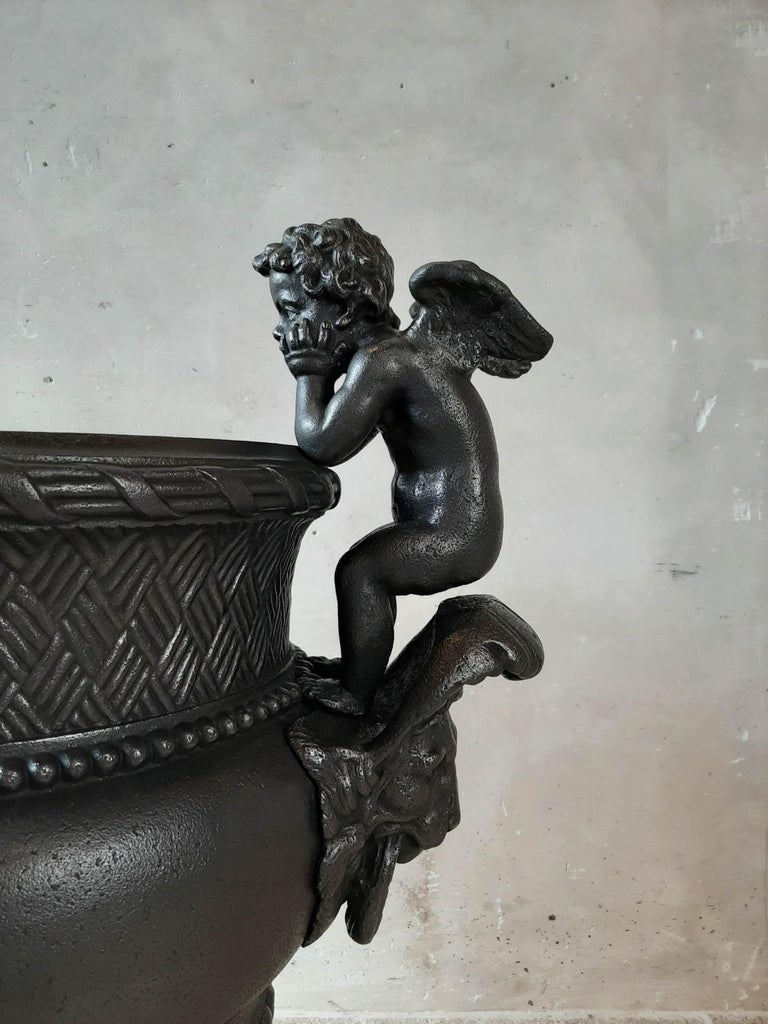 19th Century French Cast Iron Urn, Cast by A. Durenne, After Claude Ballin I For Sale 2