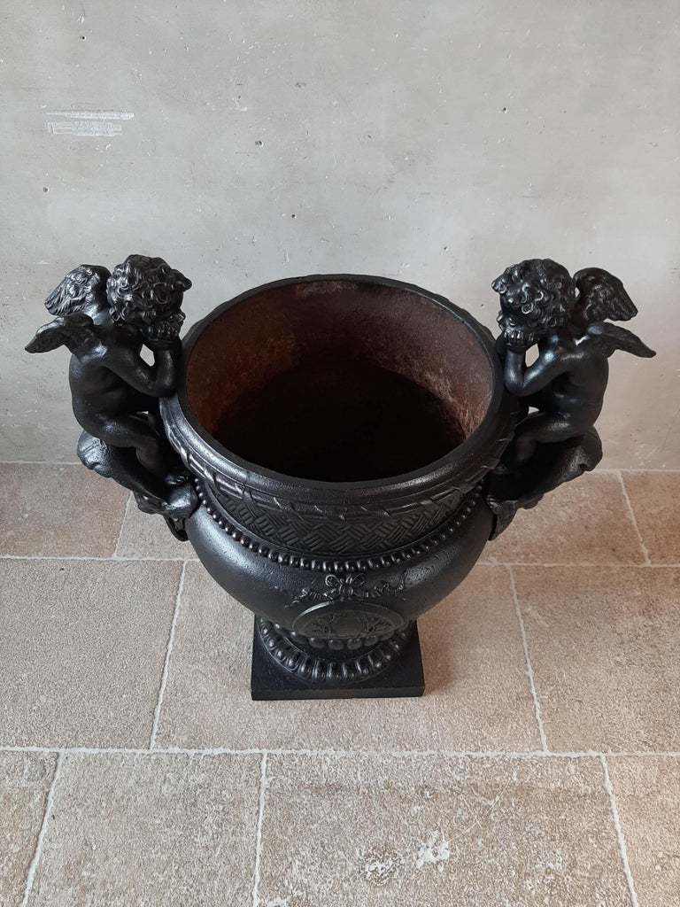 19th Century French Cast Iron Urn, Cast by A. Durenne, After Claude Ballin I For Sale 4