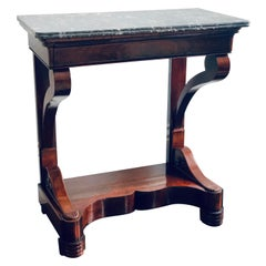 19th Century French Louis Philippe Mahogany and Marble Console Table