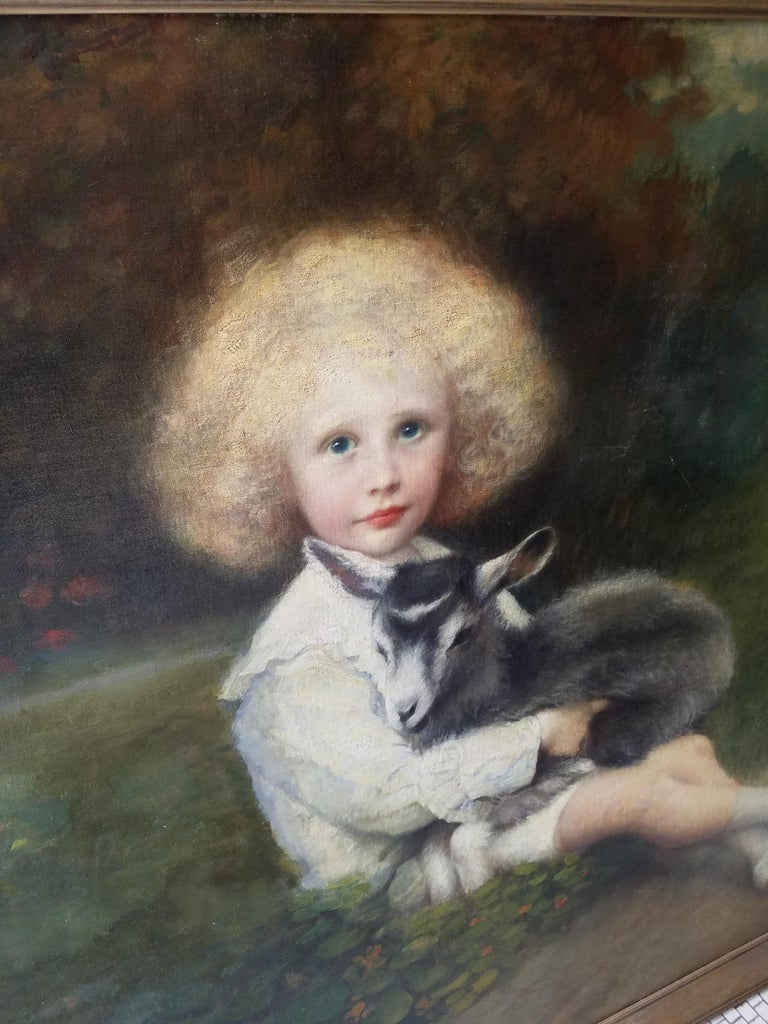 19th century French painting of an aristocratic young man with his pet goat in a bucolic setting. Signed F. Dumont Lower right.  Size: 55