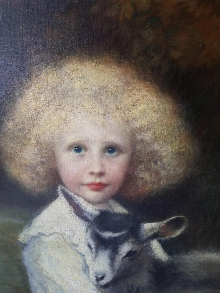 Late Victorian 19th Century French Painting of an Aristocratic Young Boy with His Pet Goat For Sale
