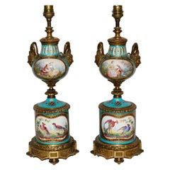 19th Century French Pair of Celeste Blue Ground Sèvres Porcelain Vases
