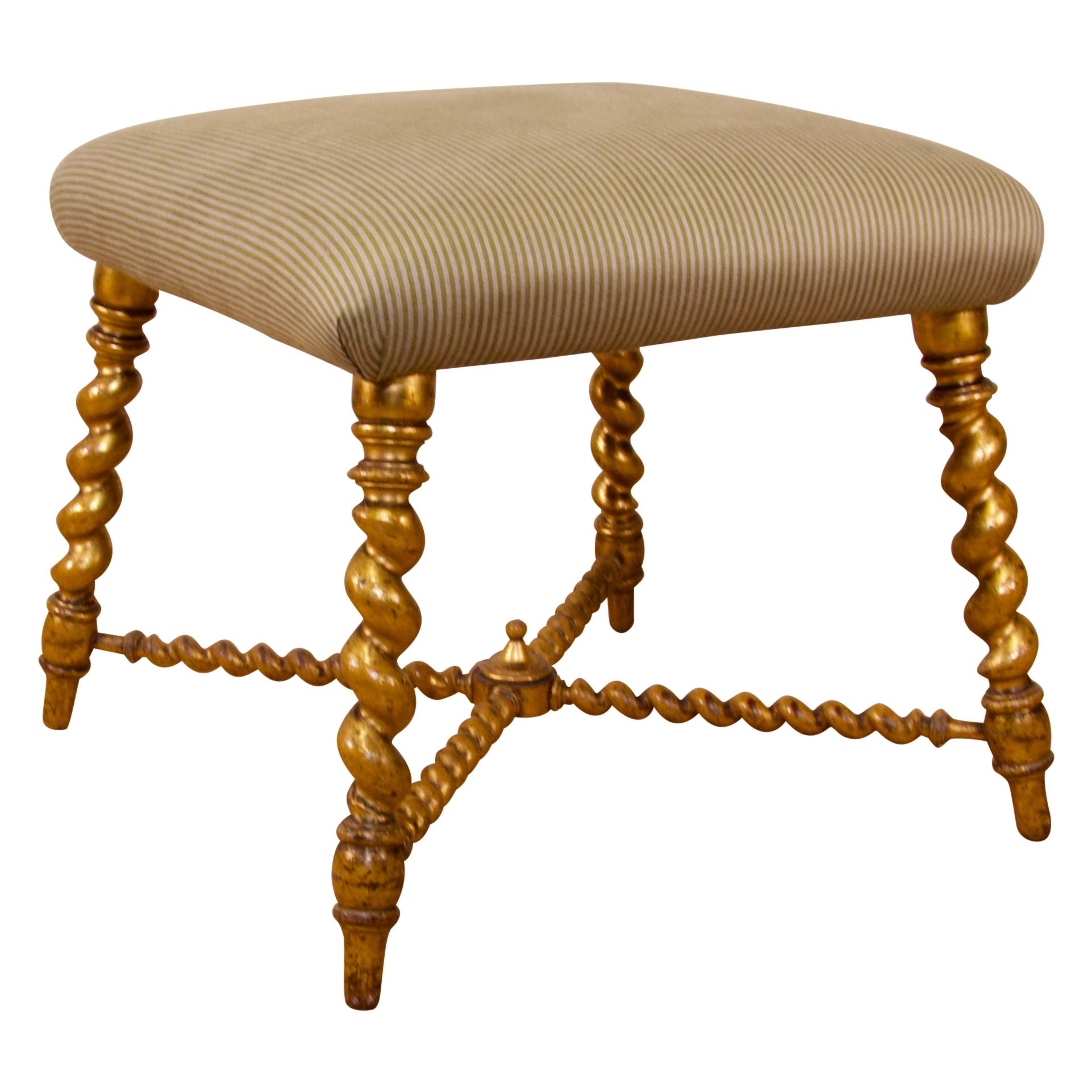 19th Century French Square Giltwood and Upholstered Stool Ottoman, Coffee Table