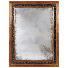 19th Century Gilded and Painted Italian Mirror with Mercury Glass Plate