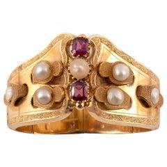 19th Century Half Pearl Garnet and Gold Bangle Bracelet