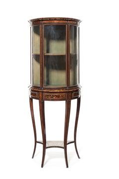 A 19th century Italian brown and blonde tortoiseshell demi-lune vitrine/display