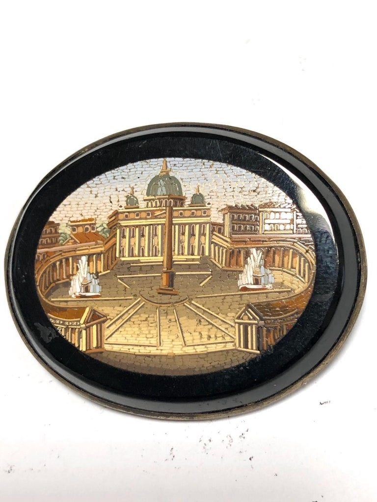 Victorian 19th Century Italian Micromosaic Brooch For Sale