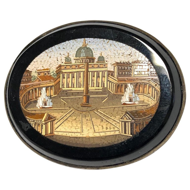 19th Century Italian Micromosaic Brooch For Sale