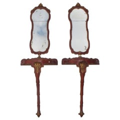 19th Century Italian Pair of Very Decorative Consoles and Mirrors