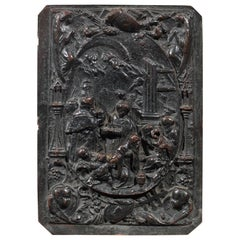 19th Century Italian Patinated Bronze Relief Plaque of the Nativity