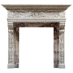19th Century Italian Statuary and Breche Violette Marble Chimneypiece