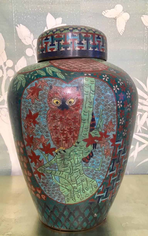 Cloissoné 19th Century Japanese Cloisonné Lidded Jar For Sale