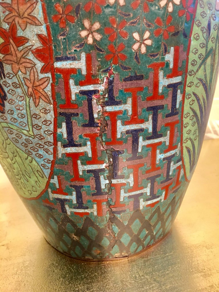Metal 19th Century Japanese Cloisonné Lidded Jar For Sale