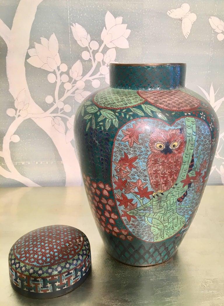 19th Century Japanese Cloisonné Lidded Jar For Sale 2