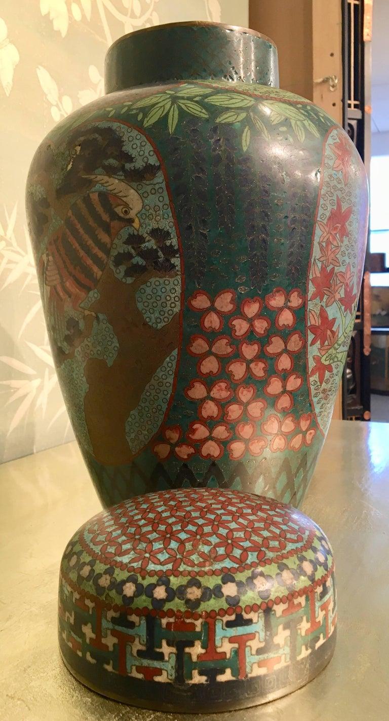 19th Century Japanese Cloisonné Lidded Jar For Sale 3