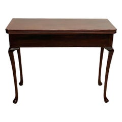 19th Century Mahogany Console/ Folding Table with 2 Drawers Each Side