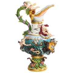 A 19th Century Meissen Porcelain 'Elements' Ewer Emblematic of Water