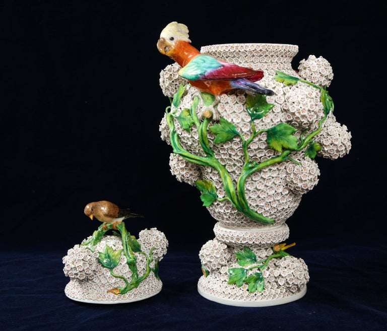 Late 19th Century 19th Century Meissen Porcelain Schneeballen Snowball Vase with Meissen Birds For Sale