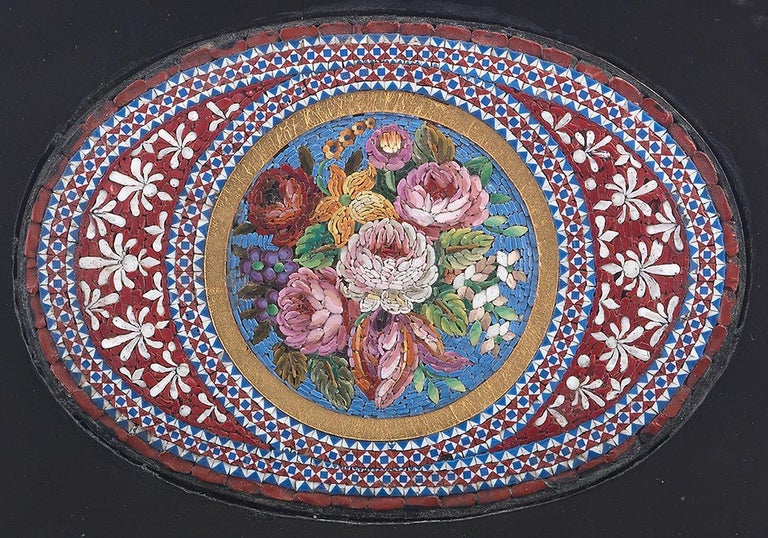 Italian 19th Century Micromosaic Paper Weight Depicting Flowers For Sale