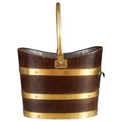 19th Century Oak Log Bucket