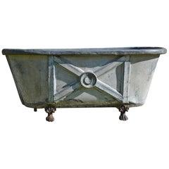 19th Century Painted Zinc Bath Tub