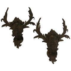 19th Century Pair Antique Patinated Bronze Satirical Mask Wall Lights Sconces