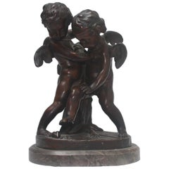 19th Century Patinated Bronze Group After Falconet