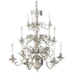 19th Century Polished Iron Light Three-Tier Chandelier