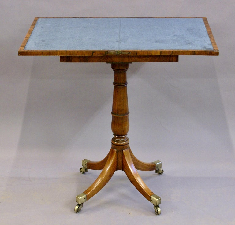 English 19th Century Regency Period Rosewood Folding Games Table on Pedestal Base For Sale